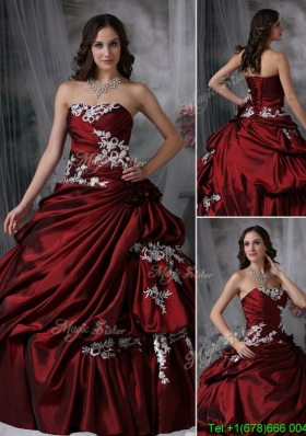 2016 Elegant Ball Gown Strapless Appliques Wholesale Quinceanera Dresses