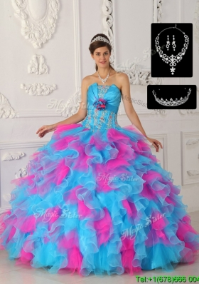 Perfect Multi Color Ball Gown Wholesale Quinceanera Dresses with Appliques