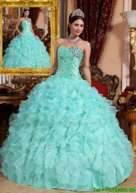 Exquisite Beading and Ruffles Quinceanera Dresses in Apple Green