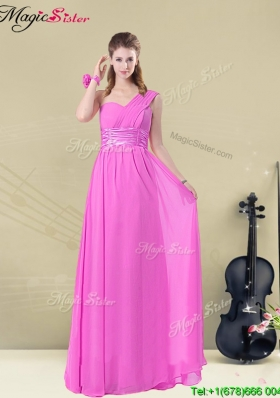 Hot Sale Empire One Shoulder Bridesmaid Dresses with Belt