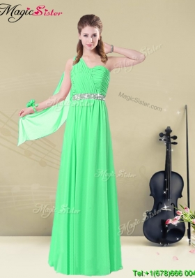 The Most Popular One Shoulder Floor Length Bridesmaid Dresses with Ruching and Belt