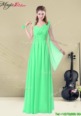 Elegant Straps Floor Length Bridesmaid Dresses with Ruching and Belt for Summer