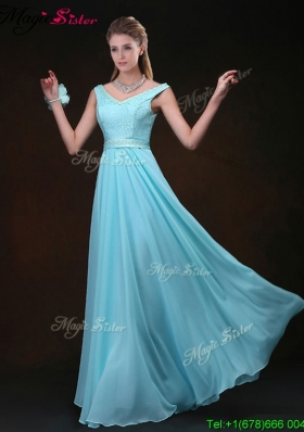 Low price Empire V Neck Bridesmaid Dresses with Belt and Lace