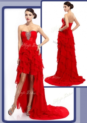 2016 Cheap High Low Beading and Ruffled Layers Prom Dresses in Red