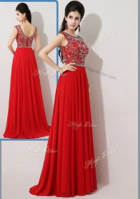 2016 Fashionable Empire Bateau Brush Train Prom Dresses with Beading