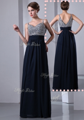 2016 Classical Empire Straps Side Zipper Beading Prom Dresses in Black