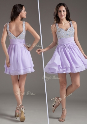 2016 Simple Straps Mini Length Lavender Prom Dress with Beading