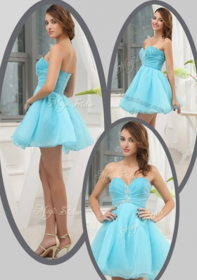 New Lovely Sweetheart Beading Short Prom Dress in Aqua Blue for Homecoming