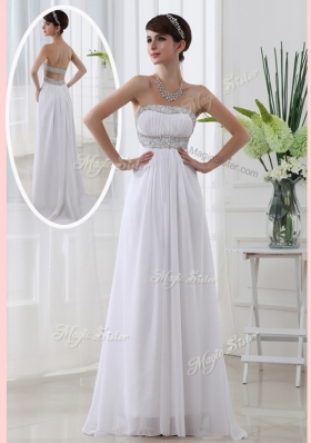 New Affordable Strapless Brush Train Beading Prom Dress in White