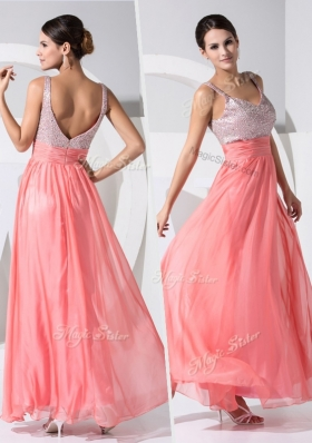 2016 New Arrivals Empire Straps Sequins Prom Dresses in Watermelon