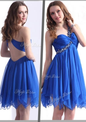 New Best One Shoulder Blue Short Prom Dresses with Beading