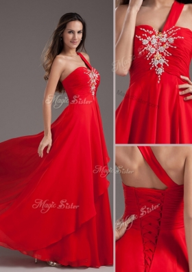 New Cheap Empire One Shoulder Red Prom Dress with Beading