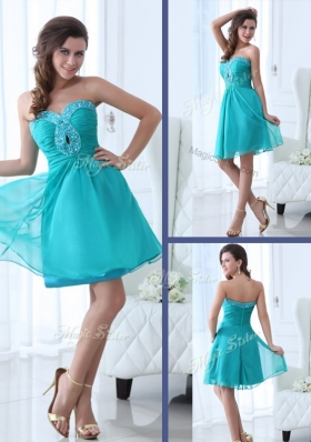2016 Pretty Short Sweetheart Beading Sexy Prom Dress in Turquoise