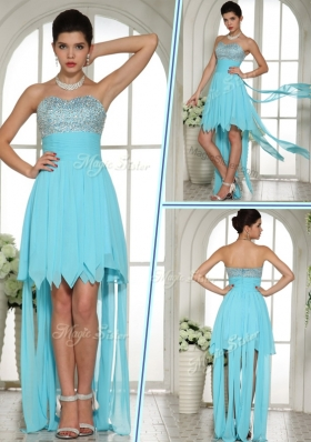 2016 Wonderful Sweetheart High Low Beading and Paillette Sexy Prom Dress in Aqua Blue