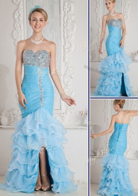 2016 Gorgeous Mermaid Sweetheart Beading and Ruffled Layers Aqua Blue Sexy  Prom Dresses