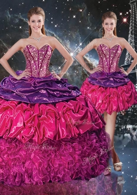 Gorgeous Ball Gown Sweetheart Detachable Quinceanera Gowns  with Ruffles