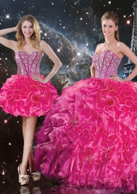 Fashionable Sweetheart Hot Pink Detachable Quinceanera Gowns  with Beading