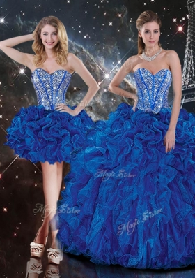 New Style Sweetheart Detachable Beading Quinceanera Gowns in Blue