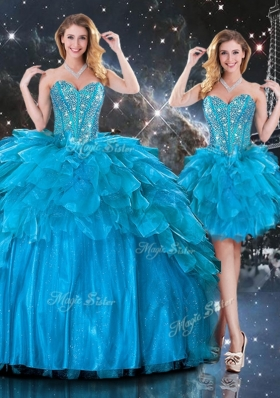 New Arrivals Detachable Sweetheart Quinceanera Gowns  with Beading in Blue