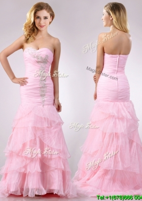Popular Brush Train Organza Pink Cheap Dress with Beading and Ruffles