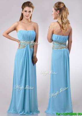 Discount Beaded Decorated Waist and Ruched Bodice Cheap Dress in Aqua Blue