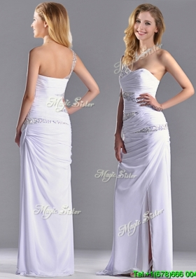 Cheap Beaded and Ruched Decorated Bodice Prom Dress with One Shoulder
