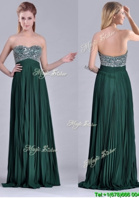 Popular Brush Train Beaded Bust and Pleated Cheap Dress in Hunter Green