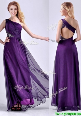 Elegant One Shoulder Criss Cross Purple Cheap Dress with Beading