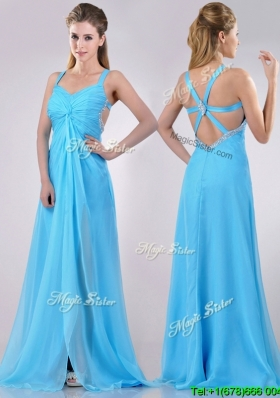 Luxurious Straps Criss Cross Beaded Long Cheap Dress in Baby Blue