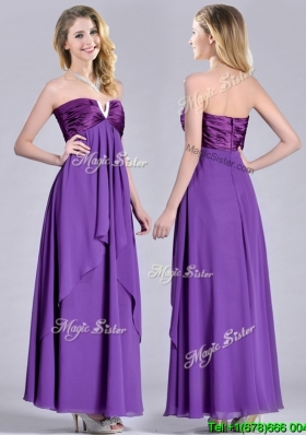 Cheap Beaded Decorated V Neck Chiffon Cheap Dress in Eggplant Purple