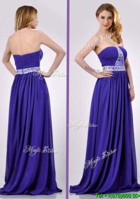 Empire Strapless Beaded Purple Long Cheap Dress for Evening
