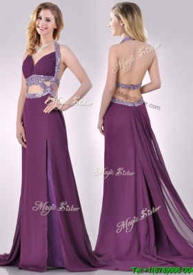 Sexy Cut Out Waist Halter Top Prom Dress with Brush Train