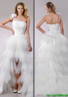 Gorgeous High Low Beaded and Ruffled Wedding Dress with Detachable Skirts