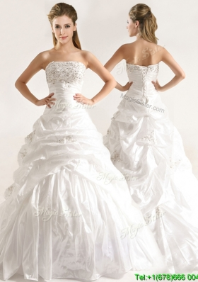 Beautiful A Line Beaded and Ruffled Wedding Dresses with Taffeta