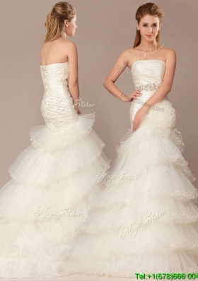 2016 Mermaid Beading and Ruffles Layers Wedding Dresses with Brush Train