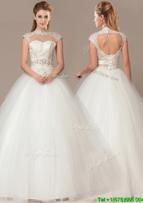 See Through Beaded Decorate Waist High Neck Shade Back Wedding Dresses with Appliques