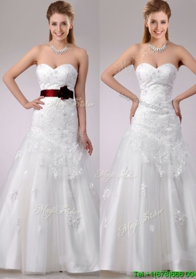 New Style A Line Brush Train Beaded and Applique Wedding Dress with Sash