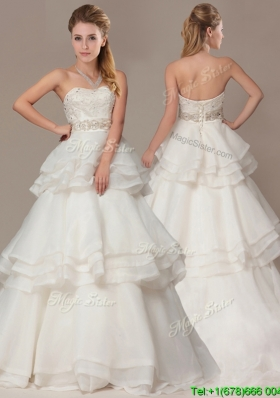 New Style A-line Brush Train Wedding Dresses with Beading and Ruffles Layers