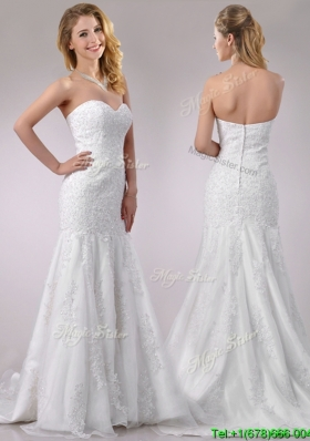Popular Mermaid Wedding Dresses with Beading and Appliques