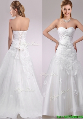 Lovely Be-ribboned Beaded and Applique Wedding Dress with Brush Train