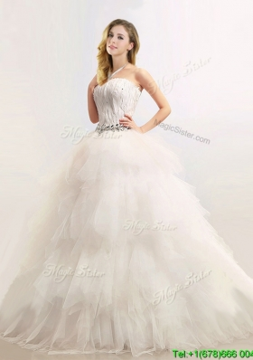 Sophisticated Strapless Feathered and Beaded Wedding Dresses in Tulle