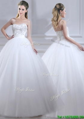 Perfect Ball Gown Wedding Dresses with Beading and Sashes