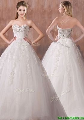 Perfect A Line Sweetheart Wedding Dresses with Beading and Appliques