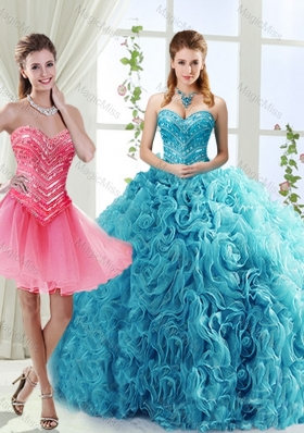 Classical Big Puffy Beaded Detachable Quinceanera Gowns  in Rolling Flower