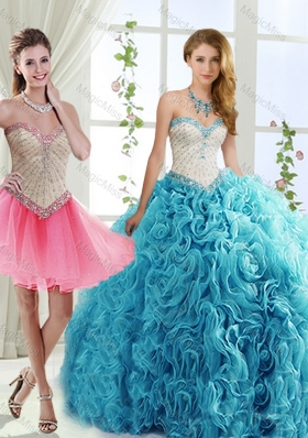 Sophisticated Rolling Flowers Detachable Quinceanera Gowns  with Brush Train