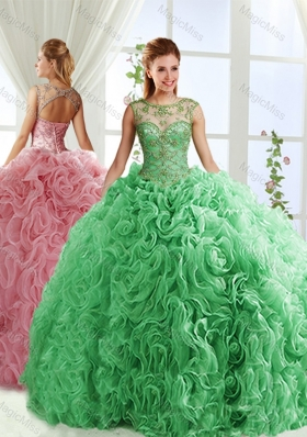 See Through Beaded Scoop Detachable Quinceanera Gowns  with Rolling Flower