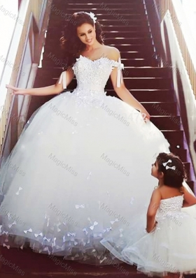 New Style Off the Shoulder Wedding Dresses with Bowknot and Romantic Strapless Flower Girl Dress with Bowknot