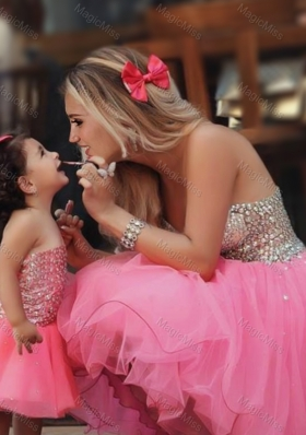 Most Popular Knee Length Sexy Prom Dress with Beading and New Style Beaded Little Girl Dress with Strapless