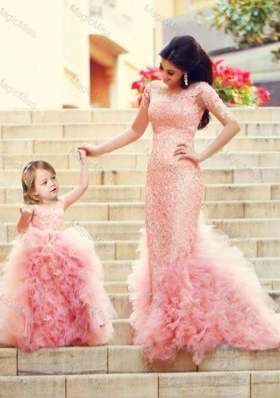 Exclusive Column Long Sleeves Sexy Prom Dress with Brush Train and Affordable Ruffled and Laced Little Girl Dress in Watermelon Red
