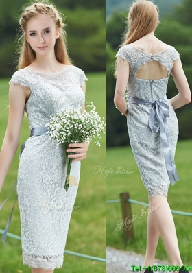 Wonderful Scoop Cap Sleeves Sashes Dama Dress in Grey